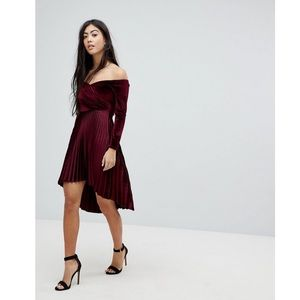Asos Petite Velvet Wrap Bardot Pleated Mini Dress
